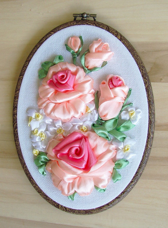 Ribbon embroidery wall hanging hoop art peach roses and