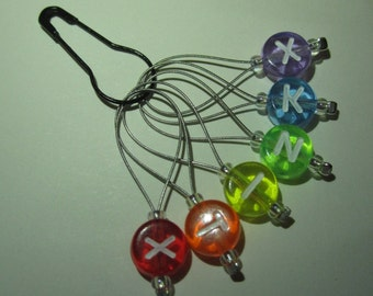 Reverse Rainbow XKNITX set of six stitch markers