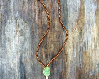 Long Beaded Tassel Agate Druzy Necklace with Large Green Druzy Drusy Geode Pendant and Wood Beads