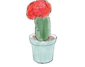 blooming cactus plant print, digital download print, JPEG, plant print