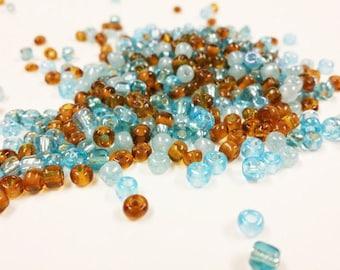 6/0 Seed Bead Mix | Bead Weaving | Chocolate and Blue Beads | Glass Seed Bead | Beading Supply, 7450