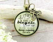Bicycle Necklace Life is Like Riding a Bicycle Pendant, A Unique Bicycle Themed Gift Inspirational Necklace Makes Beautiful Gifts Cyclists