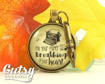 "Writing Necklace 'Fill Your Paper with the Breathings"" Writer Jewelry Author Swag Author Gift Pen Writing Nib Necklace"