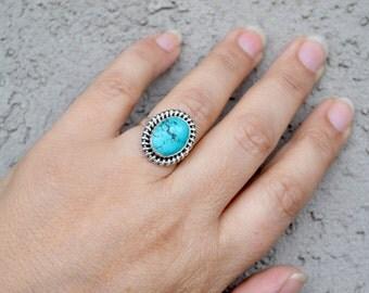 Turquoise Ring, Sterling Turquoise Ring, Sterling Silver Ring, Gemstone Ring, Boho Ring, Boho Turquoise Ring, Size 6.75 Ring (R29)
