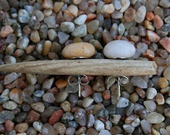 Quartz Earrings - Mismatch Minimalist Studs - White Stone - Men's Earrings
