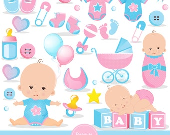 Baby shower clipart commercial use, baby reveal shower clipart, baby shower clipart, baby clip art, baby girl clipart - CA450