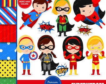Superhero clipart, supergirl clipart, superhero girl clipart, flash clipart, superhero costume, superheroes - CL128