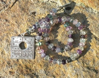 Fluorite Necklace with large Sterling Silver Clasp