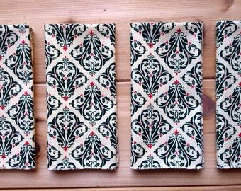 Sale!!! Green Damask Christmas napkins, Pack of 12
