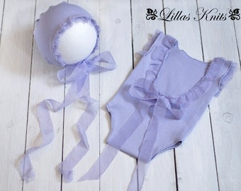 Newborn romper set-Romper-Bonnet-Photo props-Photography outfit-Handmade romper-Newborn Hat-Baby girl-Fabric and chiffon photo prop-RTS-