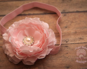 Pink baby headband, ranunculus pink headband, elegant pink headband, pink flower headband