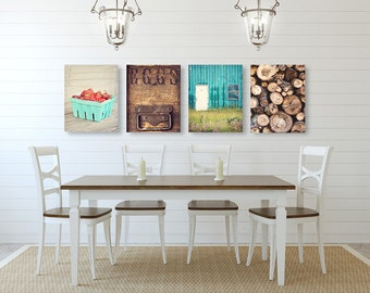 farmhouse wall art kitchen wall decor set of four prints or canvases farmhouse - Kitchen Wall Decorations