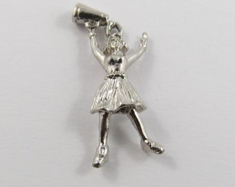 Cheerleader Cheering with Bullhorn Sterling Silver Charm or Pendant.