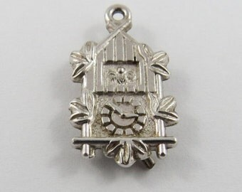 Nice Wall Clock  Sterling Silver Charm or Pendant.