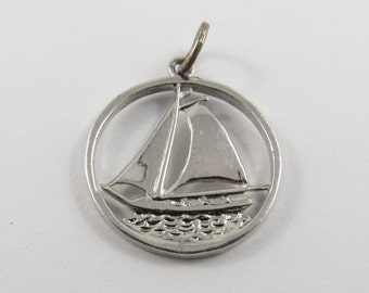 Sailboat Sterling Silver Charm or Pendant.