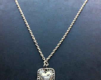 Silver Plated 16 inch Necklace with Rectangular Heart Charm