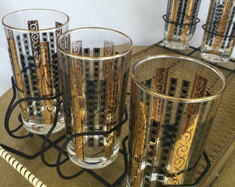 Vintage Mad Men Hollywood Glam Highball Glasses With Carrier Tray