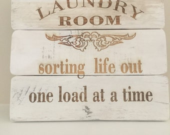 Laundry room wooden pallet Laser engraved