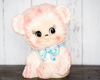 Vintage 1950's Pink Teddy Baby Planter - Relpo Nursery Baby Room Decor - Pink Teddy Bear Baby Room Container - Mid Century Nursery Decor