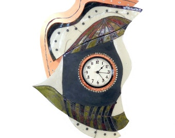 Wall clock Raku ceramic and patinated copper #13