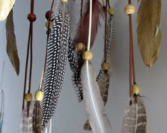 Natural Willow Baby Mobile, Dream catcher Mobile, Boho Feather Mobile, Nursery Mobile, Woodland Mobile, Native American Style