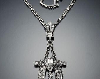 Vintage Art Deco Dress Clip Necklace