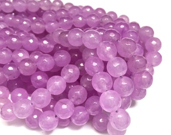 10mm Faceted Lilac Purple Mountain Jade Full Gemstone Strand (39 Round Beads)