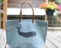 Monogrammed Whale Bag-gifts for teens-whale design-waterproof beach bag-bee bag-crab bag-custom beach bag-gifts under 50-hostess