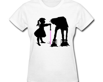 Women's T-Shirt Girl tames Star Wars at-at