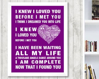 Good Savage Garden I Knew I Loved You Music Love Song Lyrics Word Art Print  Poster Heart