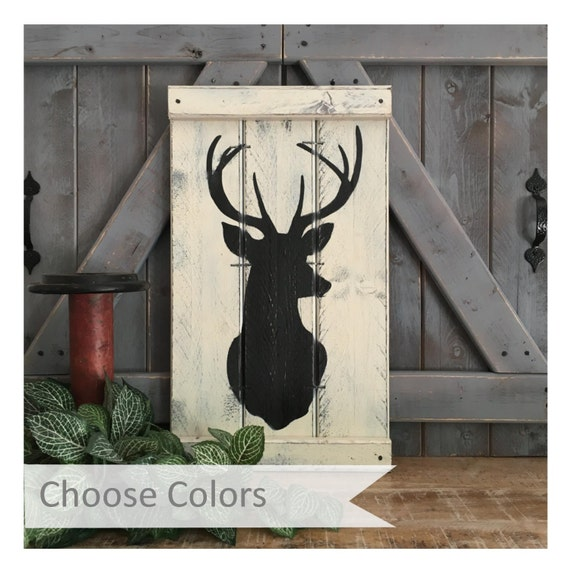 HUNTING DECOR, Cabin Decor, Deer Decor, Rustic Nursery Decor, Deer Head Silhouette, hunting his and her, pink deer head, woodland decor