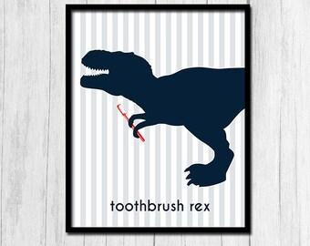 Tyrannosaurus Rex Printables Dinosaur Bathroom Decor Instant Download Trex Prints