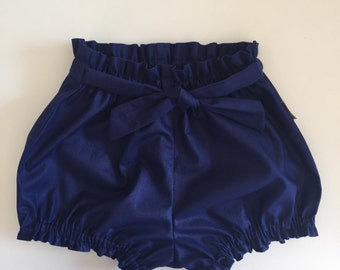 Baby Bloomers / Baby Shorts / Belted Bloomers - Junior Navy - READY TO SHIP by Little Dreamer