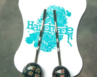 Dichroic glass hair pins handmade black pattern