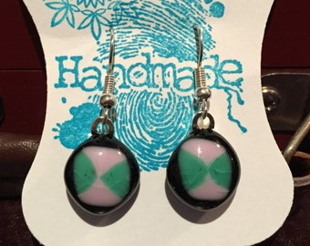 Handmade black/pink/green patterned glass dangle earrings