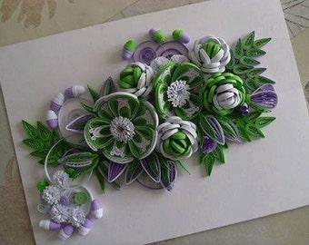 Green White Paper Floral Art - Green Flower Wall Design - Floral Quilled Pictures - Modern Canvas Art - Inspirational Art - Contemporary Art