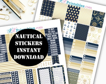 Nautical Stickers Printable Planner Stickers // Erin Condren Printable / Plum Paper Planner / Summer Printable Digital Download 00145