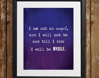 Jane Eyre I Am Not An Angel Wall Art - Charlotte Bronte - Grunge Print - Motivational Quote - Angel Print - Badass Print - Wall Decor