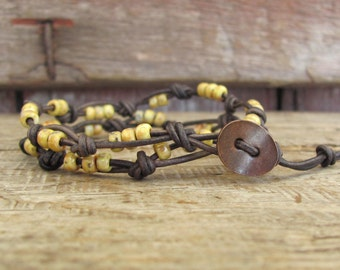 2x Boho Wrap Knotted Leather Bracelet, Knotted Leather Wrap Bracelet, Yellow Beaded Wrap Knotted bracelet