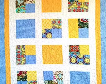 "Handmade Quilt, Blue & Yellow Quilt, 43"" x 54"", Amy Butler Fabric, Modern Quilt, Lap Quilt, Throw Quilt, Child Quilt, Baby Quilt, Crib Quilt"