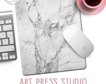 White Marble Mouse Pad, White Stone Mousepad, Carrera Marble Mouse Pad, Natural Stone, Boho Marble Desk Accessory
