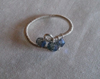 sterling silver ring , wire wrapped ring , handmade jewelry , swarovski crystal ring