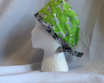 Lime Zebras Surgical Scrub Cap Chemo Dentist Hat