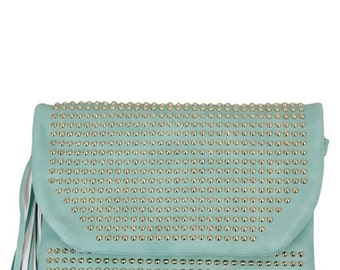 Mint With Studs Decorated Clutch Handbag