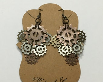 Gears and cogs steampunk earrings. Bronze, copper and silver.