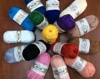 Alize Bahar 100 % mercerized cotton, Cotton yarn, Alize yarn, a lot of yarn , yarn palette