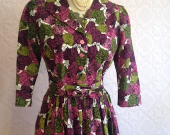 1950s style Bow Belt Dress in Purple and Green.  Fit and Flare Retro.