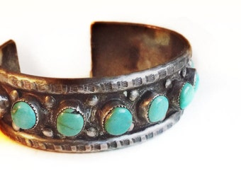 Vintage Blue Turquoise Sterling Silver Retro 1960's Southwestern Cuff Boho Bracelet ~ Blue Gemstone Native American Jewelry