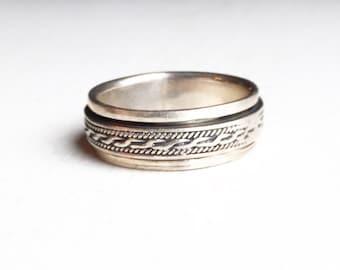 Vintage Sterling Silver Men's Spinner Ring Size 11.5