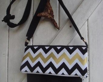 Suede black and cloth bag black gold and white herringbone